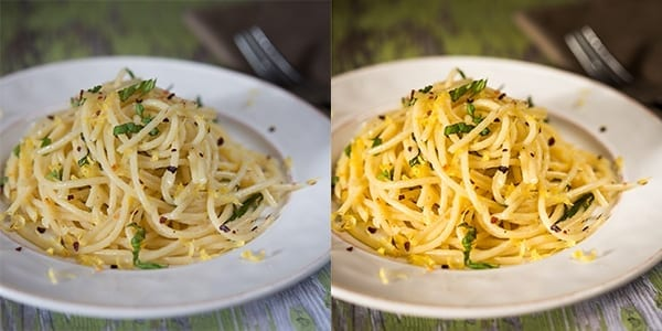Behold the power of editing! The image of the simple pasta dish on the left is completely un-edited (other than cropping). While it is attractive, the image is rather bland and boring. The exact same image on the right went through my editing process, resulting in a vibrant and inviting image.