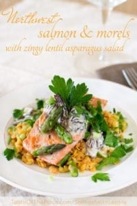 Salmon with morel cream sauce and zingy asparagus lentil salad