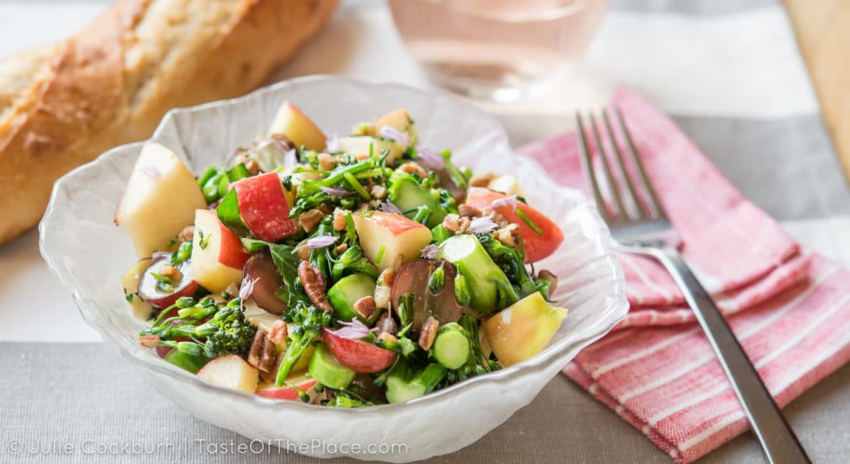 Chunky apple broccolini salad at TasteOfThePlace.com