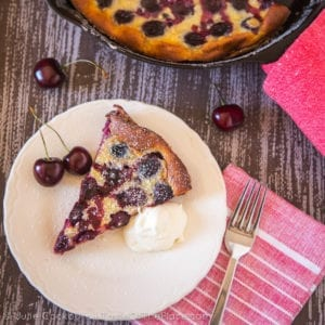 Rustic French Cherry Clafoutis at TasteOfThePlace.com