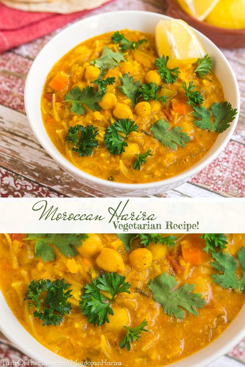 Harira, considered the national soup of Morocco, is a healthy, yet satisfying, combination of tomatoes, chickpeas, lentils, and pasta. This vegetarian version is generously seasoned with aromatic flavors like saffron, turmeric, and fresh cilantro, and will leave your kitchen scented with the magical aromas of Morocco.