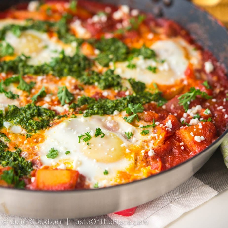 Shakshuka is a simple, easy-to-make, one-pan meal of eggs poached in a savory, spicy tomato and pepper sauce. It's just as tasty for breakfast as it is for dinner, and makes a satisfying dish any time of day.