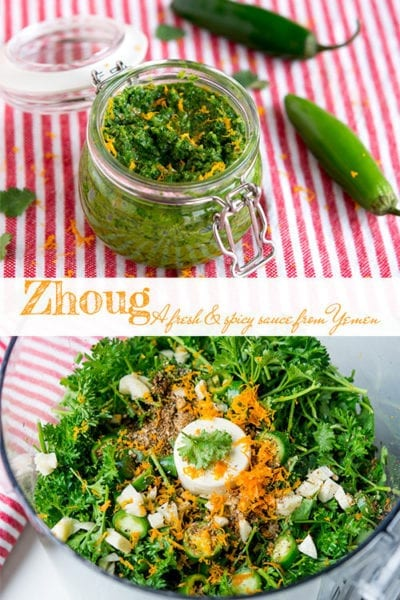 Zhoug, a vibrant green cilantro based sauce from Yemen, is both fresh and fiery. It's layered with flavor, from earthy cumin, to aromatic coriander, to bright orange zest. Put a dollop on eggs, spread a bit on a sandwich, or use it as a dip, and enjoy the zingy and aromatic flavors of the Middle East!