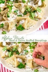 Seasoned beef and onions, tucked away in a tender wrapper, and topped with an herby yogurt sauce make this delicious recipe for Afghan mantu, or dumplings, a perfect crowd pleaser for your next party!