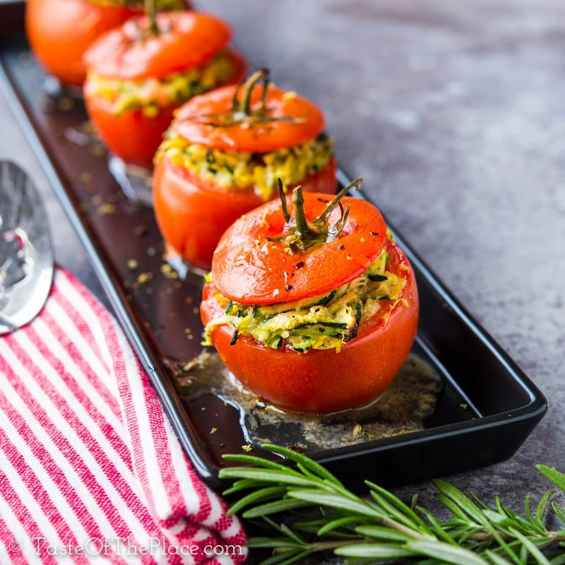 Zucchini Stuffed Tomatoes from the Taste Of The Place cookbook at TasteOfThePlace.com